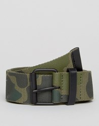 Asos Camo Belt With Black Coated Buckle Khaki Green