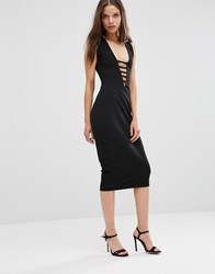 Hedonia Midi Pencil Dress With Lace Front Black