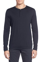 Men's Theory 'Billey' Silk And Wool Long Sleeve Henley Black