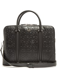 Givenchy Logo And Star Debossed Leather Briefcase Black