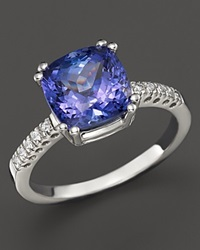 Bloomingdale's Tanzanite And Diamond Ring In 14K White Gold White Blue