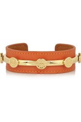 Tory Burch Studded Leather Cuff Bright Orange