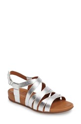 Fitflop Women's Lumy Gladiator Sandal Silver Leather