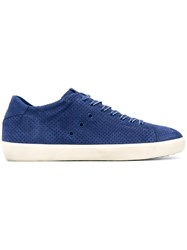 Leather Crown Perforated Lace Up Sneakers Men Cotton Suede Rubber 44 Blue