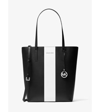 Emry Large Leather Tote Black White