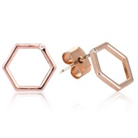 Astrid And Miyu Hexagon Stud Earrings In Rose Gold