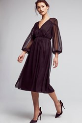 Anthropologie Petite Silk Chiffon Midi Dress Black