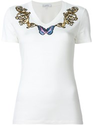 Versace Collection Butterfly Embroidered T Shirt Nude And Neutrals