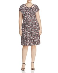 Michael Michael Kors Plus Brooks Floral Print Cutout Dress Ballet