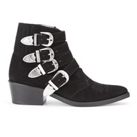 Toga Pulla Women's Buckle Side Suede Heeled Ankle Boots Black Suede
