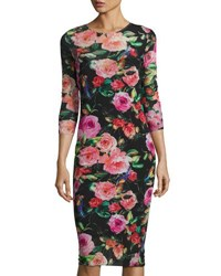 Neiman Marcus Floral Print Mesh 3 4 Sleeve Dress Multi Pattern