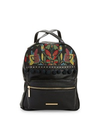 Kensie Embroidered Leatherette Backpack Black Combo