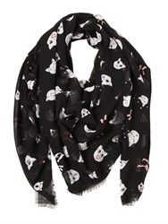 Karl Lagerfeld Choupette Print Modal And Silk Blend Scarf