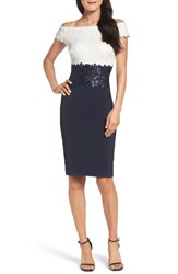 Tadashi Shoji Women's Sequin Sheath Dress Ivory Navy