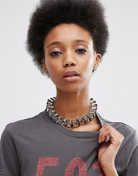 Asos Hammered Link Choker Necklace Rhodium Silver