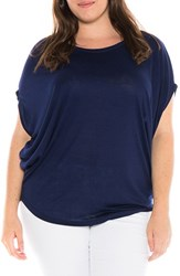 Slink Jeans Plus Size Women's Drape Side Jersey Tee Navy