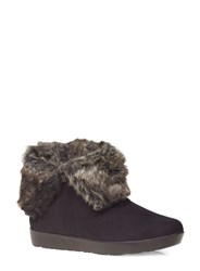 Evans Black Fur Foldover Ankle Boot
