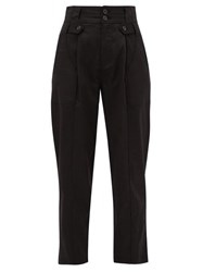 Nili Lotan Hannah High Rise Pleated Lyocell Blend Trousers Black