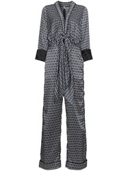 Johanna Ortiz Silk Printed Jumpsuit With Tie Front Blue