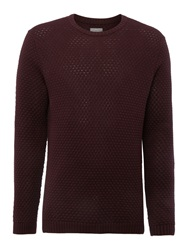 Peter Werth Billie Bubble Pattern Crew Neck Pull Over Jumpers Burgundy