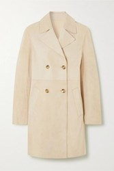 Yves Salomon Leah Double Breasted Suede Coat Beige