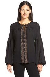 Kobi Halperin 'Marin' Lace Trim Peasant Silk Georgette Blouse Black