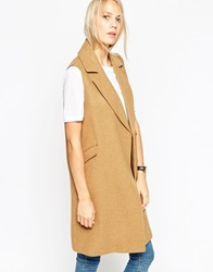 Asos Sleeveless Coat With Double Breasted Detail Camel