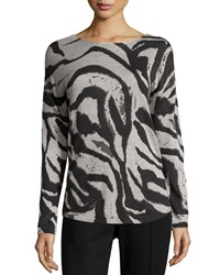 Neiman Marcus Cashmere Blend Graphic Animal Print Sweater Zebra Aerial