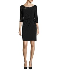 Ellen Tracy Lace Sleeve Ruched Waist Dress Black