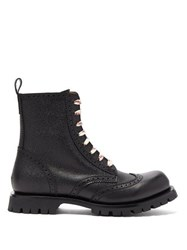 Gucci Lace Up Leather Brogue Boots Black