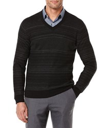 Perry Ellis Striped V Neck Sweater Black