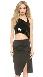 Dion Lee Thermal Jersey Tank Black Shiny