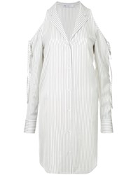 Alexander Wang T By Cold Shoulder Striped Shirt White