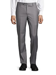 Saks Fifth Avenue Made In Italy Slim Fit Wool Trousers Grey
