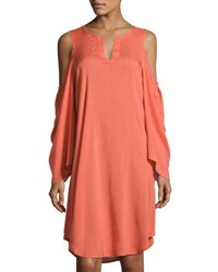 Xcvi Abella Cold Shoulder Shift Dress Coral