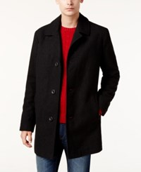 Kenneth Cole New York Wool Blend Checked Walker Coat Black