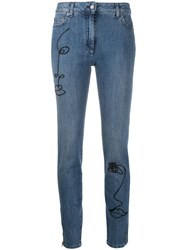Moschino Cornely Embroidery Skinny Jeans Blue