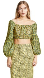 C Meo Collective Come Across Top Yellow Floral
