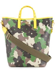 Muveil Floral Camouflage Print Tote Women Polyester One Size Green