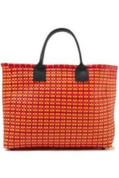 Truss Woman Leather Trimmed Woven Raffia Effect Tote Red