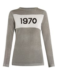Bella Freud 1970 Round Neck Intarsia Knit Sweater Silver