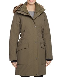 The North Face Outer Boro Faux Fur Trim Parka New Taupe Green