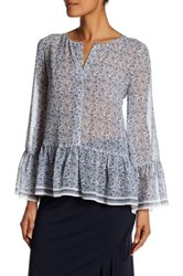 Max Studio Bell Sleeve Floral Blouse White