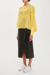 Topshop Silk Sheer Puff Sleeve Blouse By Boutique Yellow