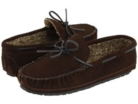 Minnetonka Casey Slipper Chocolate Suede Moccasin Shoes Brown