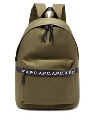 A.P.C. Savile Logo Cotton Blend Canvas Backpack Khaki