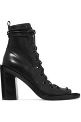 Ann Demeulemeester Lace Up Leather Ankle Boots Black