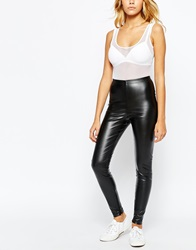 American Apparel Vegan Leather Leggings With Ankle Zip Detail Black