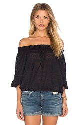 Rebecca Taylor Short Sleeve Embroidered Gauze Top Black