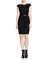 The Kooples Hopla Leather Detail Dress Black
